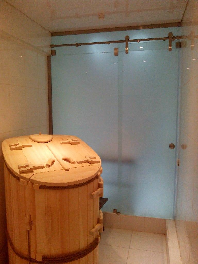 откатная дверь в бане матовая